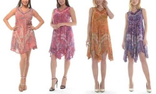 Shoreline Wear Womens Tie Dye Handkerchief Dress Purple Size3x