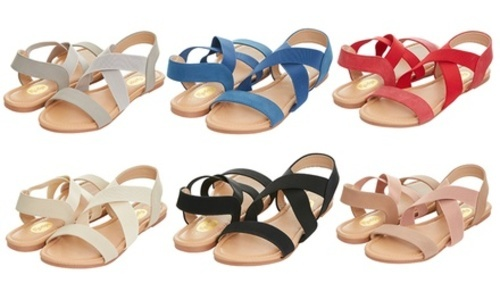 771dabb8e2f1 Floopi Women s Summer Criss Cross SlinGBack Elastic Strap Flat Sandal 10  Grey Medium ...