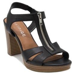 Rampage Women's Zip Up Block Heel Sandals - Black - Size:10 2201167