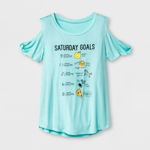 f4c99575 Grayson Social Girls' Saturday Goals Emojis Cold Shoulder Short Sleeve T- Shirt - Teal