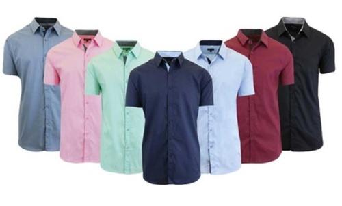 Mens Slim Fit Short Sleeve Solid Dress Shirt Black Size Small