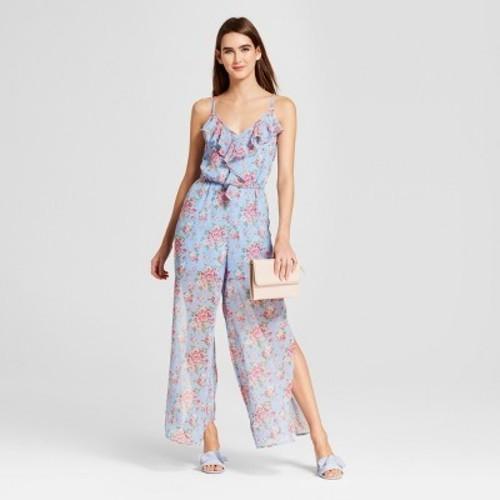 274b07bc5e8 Womens floral print ruffle halter jumpsuit love first sight juniors blue  jpg 500x500 Ruffle halter jumpsuit