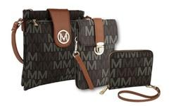 MKF Trend Triple Set M Signature Phone Wallet Crossbody Bag - White