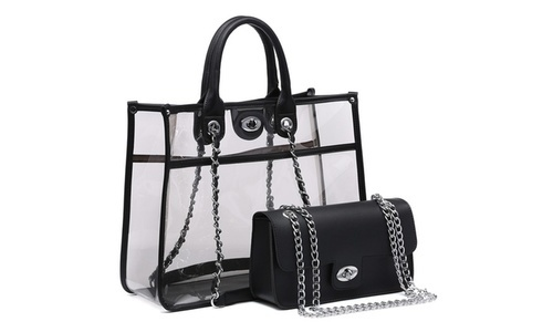 1b13b034a2e8 MK Women's Belted Transparent & Crossbody Handbag Set 2 Piece ...