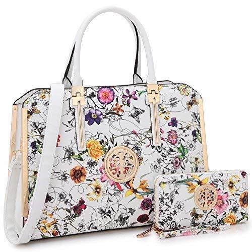 Mmk 2 Pieces Set Fashion Women S Satchel Handbags White Flower Check Back Soon