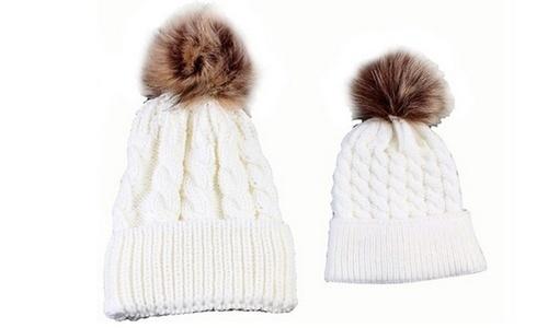 ab7ecfbfc22 Marcus Emporium Mom   Baby Pom Pom Hat Set 2 Piece - White - BLINQ