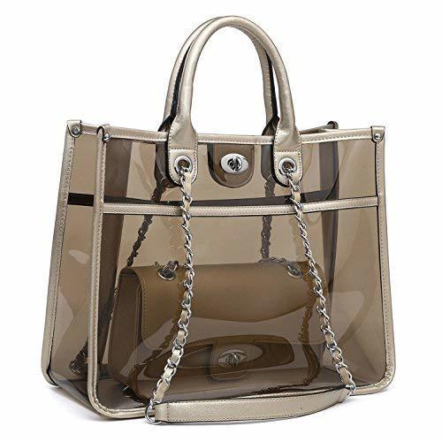 14925f2643ab Mk Belted Collection 2 Pieces Set Fashion Transparent Tote Handbag And Crossbody  Tote Gold One Size