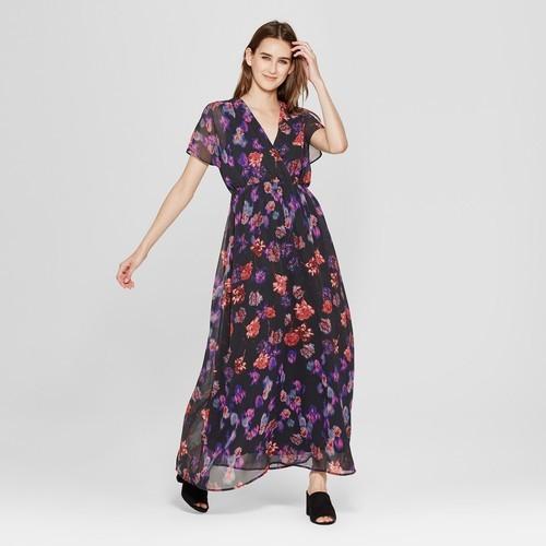 b96d758c7003 clair Women s Floral Print Short Sleeve Maxi Dress - Black - Size XL ...
