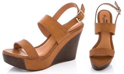 3203ad070e7f Lady Godiva Women s 2 Straps Platform Wedge Sandals - Tan - Size ...