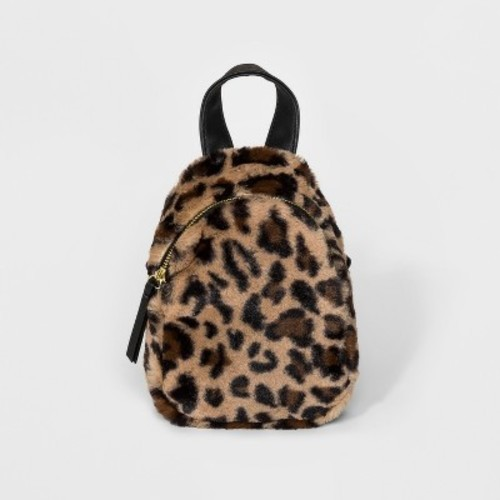 11bf3c10360a ... Wild Fable Women s Faux Fur Leopard Print Mini Backpack - Brown ...