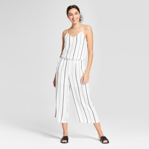 5aeee1fe4a36 Eclair Women s Striped Sleeveless Wide Leg Jumpsuit - White - Size ...
