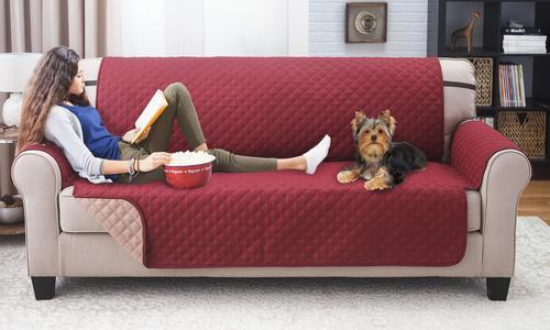 Pegasus Home Reversible Furniture Protector For Sofa Wine Mocha