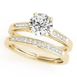 14K Yellow Gold .50CT Cushion Cut Diamond Bridal Ring Set - Size: 9 -  Unbranded