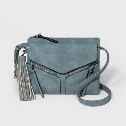 fc9d9b191522 Violet Ray Women s Leanna Triple Entry Tassel Crossbody Bag - Blue ...