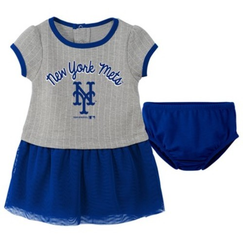 on sale d53e1 4d1bf New York Mets Baby Girls' Pinstriped Short Sleeve Dress & Bloomer Set -  Gray 12 M - Check Back Soon