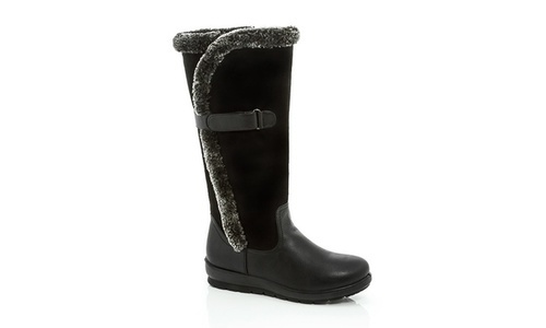 5c140e2f565 Rasolli Womens Knee-High Boot with Faux Fur Insulation - Black - Size  12  ...