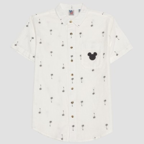 580821c90 Junk Food Men's Mickey Mouse Short Sleeve Palm Tree Print Button-Down Shirt  - White ...