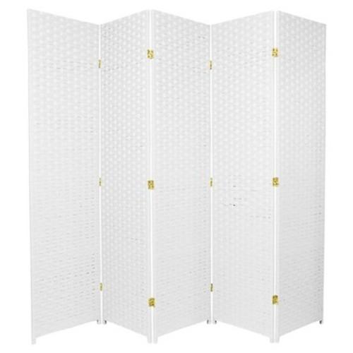 6 Ft Tall Woven Fiber Room Divider White 5 Panels Blinq