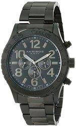 Men's Swiss Multi-Feature Steel Bracelet Watch: Black Band