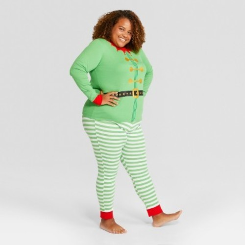 545b841169 Women s Plus Size Holiday Elf Pajama Set - Wondershop Green 4X ...