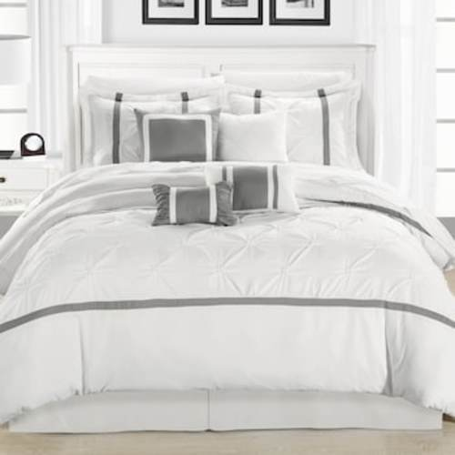 Chic Home Design Vermont 12 Pc Comforter Set Whitesilver Size