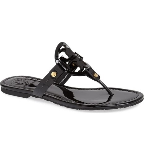 6ae59e23bbcae ... Tory Burch Women s Miller Patent Leather Thong Sandals - Black ...