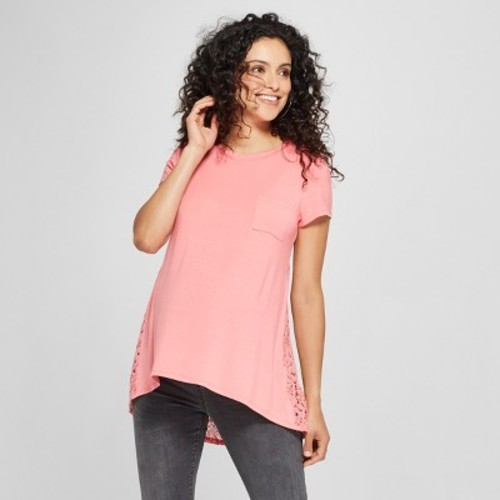 9828ae4293bfc MaCherie Women's Maternity Short Sleeve Lace Back Top - Coral - Size ...