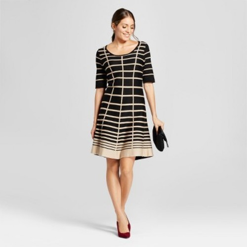 8a72eabde48 Women s Grid Printed Fit and Flare Sweater Dress - Notations - Black Tan M