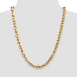 Bijou Men's 6.75mm Polished Finish Hollow Cuban Link Chain - Gold