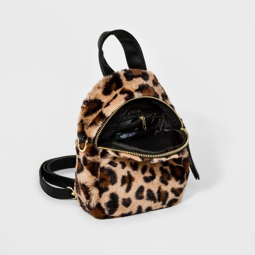 8b9e6543e16b Wild Fable Women s Faux Fur Leopard Print Mini Backpack - Brown ...