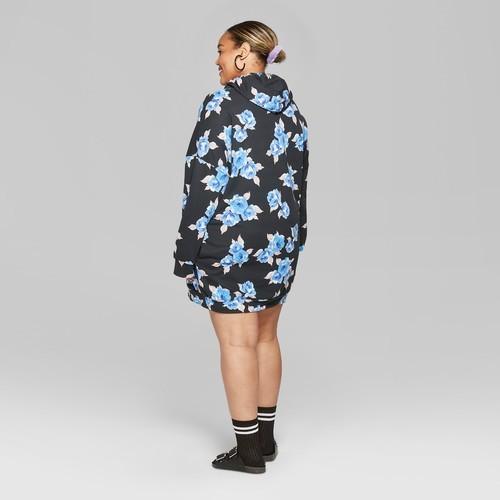 9ea153f4a6a ... Women s Plus Size Floral Hooded Sweatshirt Dress - Black Blue - Size   ...