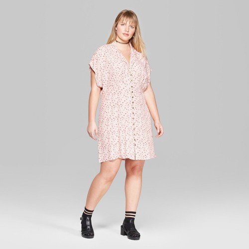 Wild Fable Women\'s Plus Size Collared Button-Down Dress - Blush - Size:4X -  Check Back Soon