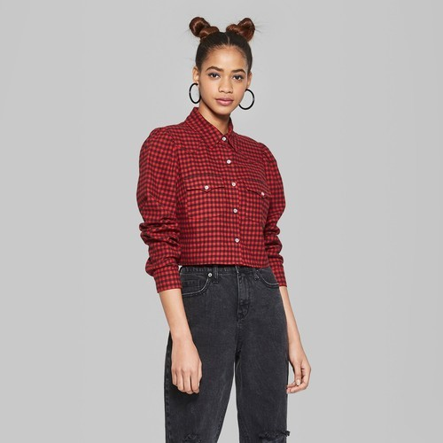 Wild Fable Women s Plaid Button-Down Western Shirt - Red - Size XL - BLINQ 875d77127