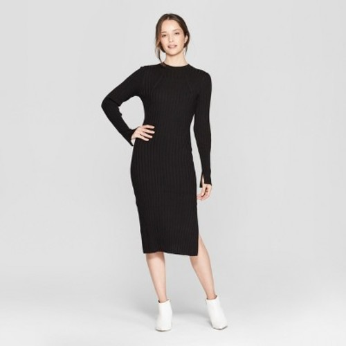 a332650c0b Women s Long Sleeve Ribbed Midi Sweater Dress - Prologue Black S ...