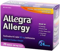 Allegra 180Mg 70 Count Adult 24 Hour Allergy Tablets (AA70T)