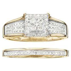 Women's 1/3 ct tw Diamond Pave 3-Row Square Halo Bridal Set 10K - Gold -  Unbranded