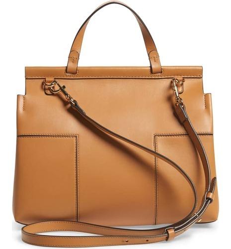 64b80226d394 ... Tory Burch Women s Block-T Leather Top-Handle Bag Satchel - British ...