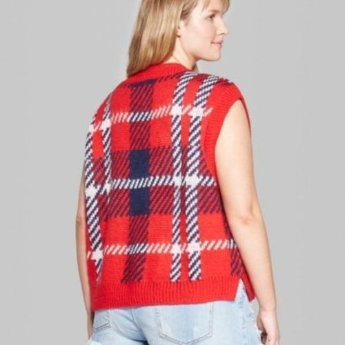 Wild Fable Womens Plus Size Plaid Oversized Sweater Vest Red