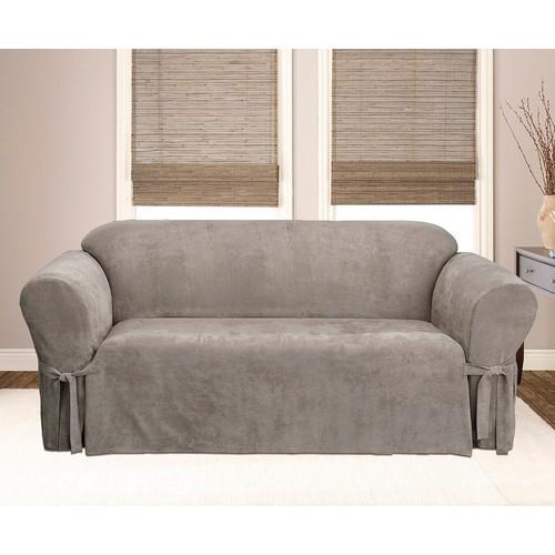 Marvelous Sure Fit Loose Edges Soft Suede Sofa Slipcover Gray Check Back Soon Creativecarmelina Interior Chair Design Creativecarmelinacom