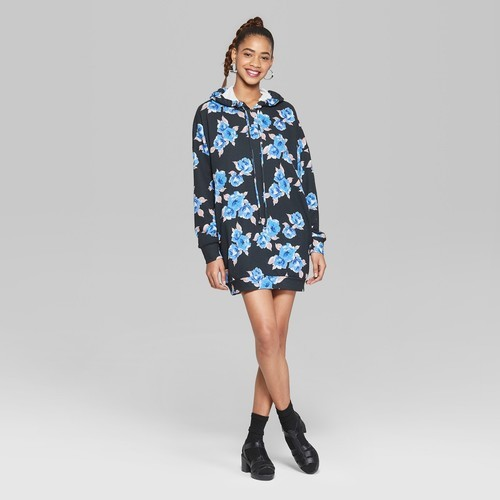 Wild Fable Women s Floral Hooded Sweatshirt Dress - Black Blue ... 633dc301c
