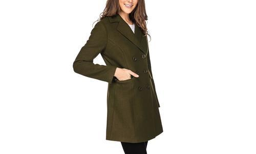 e8f96769fb4 Haute Edition Women s Double Breasted Wool Blend Peacoat - Olive ...