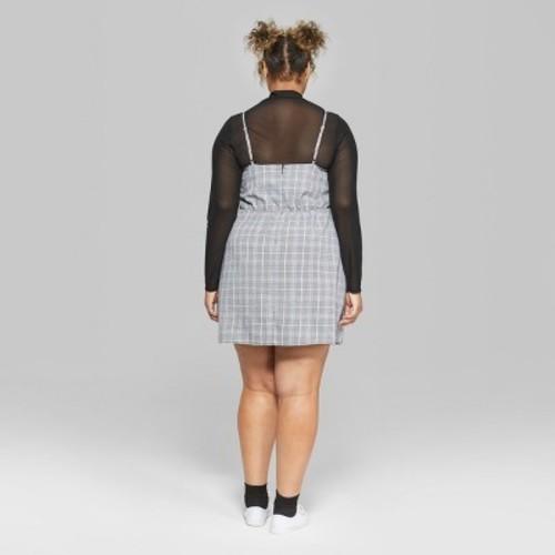 87710b0620d Wild Fable Women s Plus Size Plaid Strappy Lace-Up Dress - Gray - Size  ...