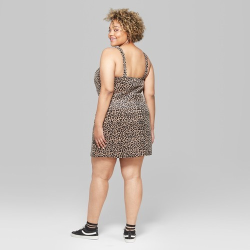 Women\'s Plus Size Zip Front Corduroy Animal Print Dress -Natural -Size:3X -  Check Back Soon