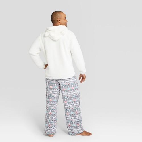 9bf10a9e03 Wondershop Men s Holiday Fuzzy Bear Fair Isle Pajama Set - White ...