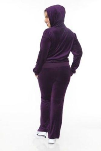 26daad41d29 White Mark Women s Plus Size Velour 2-Piece Lounge Set - Purple ...
