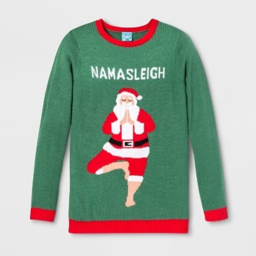 988ade861 Adult Christmas Namasleigh Santa Ugly Sweater - Norther Pole Green S ...