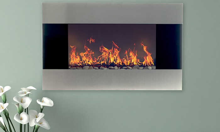 Northwest 36 Stainless Steel Electric Fireplace W Wall