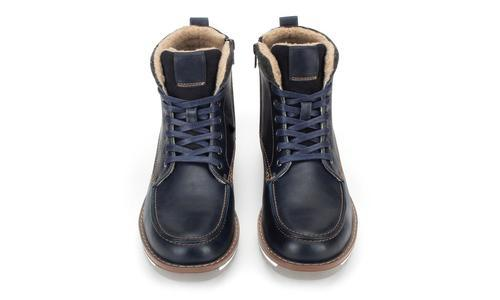 Casual Fur Lined Moc Toe Boots - Navy