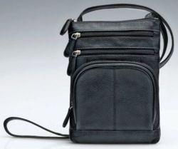 Leather Slim Crossbody Bag - Color: Black