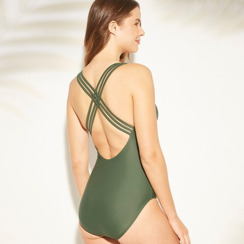 689d9907ac5 ... Kona Sol Women s Shirred Strappy Back One Piece Swimsuit - Green ...